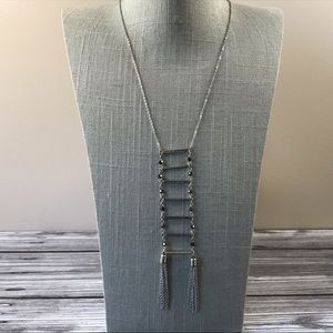 Jewelry - Long black & silver ladder tassel necklace